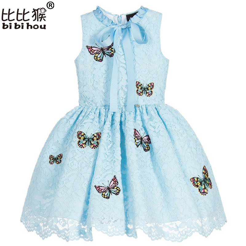 Girls Princess Dresses Costumes Kids Clothes 2017 Brand Summer Girls Dresses for Party and Wedding Lace Butterfly Children Dress white princess dress costumes for kids clothes 2017 brand summer girls dresses for party wedding lace high collar children dress