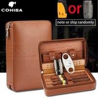 COHIBA Humidor ซิการ์กล่องซิการ์หนัง Cedar Wood ซิการ์ Humidor กล่อง W/ความชื้นเครื่องตัด Puro ชุดอุปกรณ์เสริม