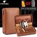 COHIBA humidificador caja de puros de viaje caja de cigarros de madera de cedro de cuero humidificador con humidificador cortador Puro conjunto de accesorios