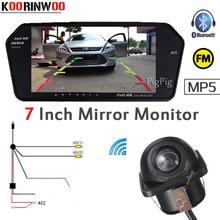 Koorinwoo парковка Системы 7 дюймов fm Дисплей цифровой 1024*600 автомобилей Мониторы зеркало Bluetooth MP5 USB/SD слот вид сзади автомобиля Камера