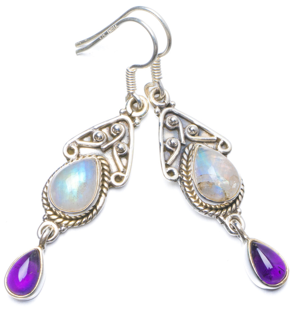 Natural Rainbow Moonstone and Amethyst Handmade Unique 925 Sterling Silver Earrings 2 Y0524