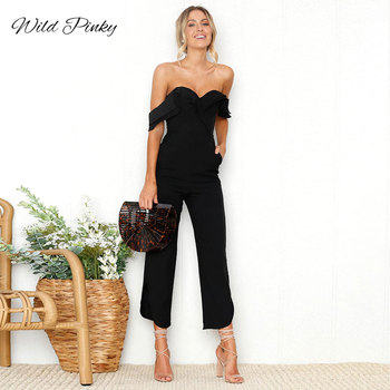 WildPinky Sexy Backless Off Shoulder Black Jumpsuit Women Tiered Ruffle High Waist Jumpsuit Romper Female Casual Overall Femme grey casual velvet off shoulder drawstring waist jumpsuit