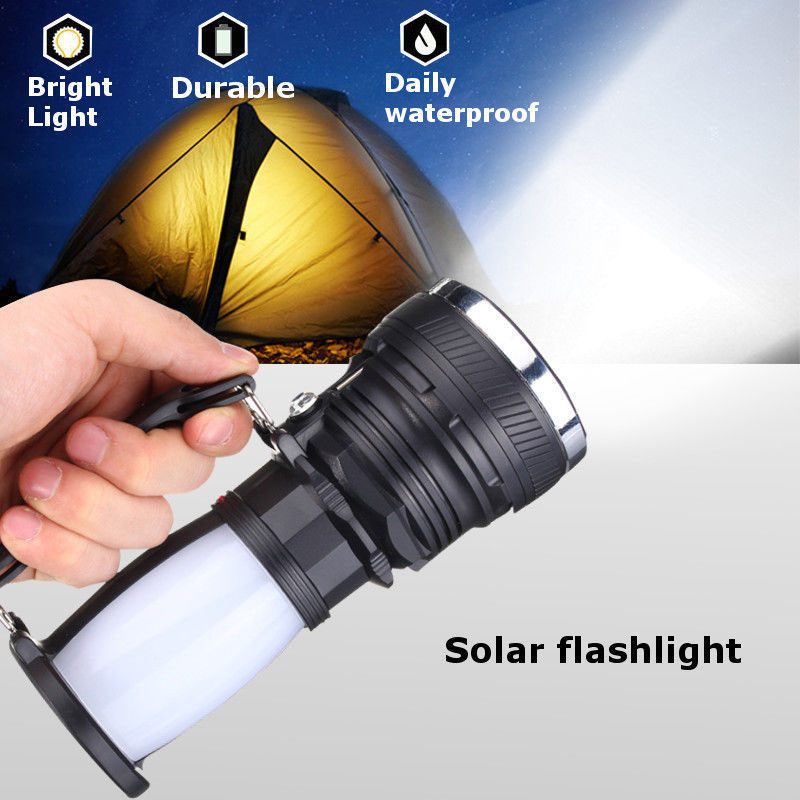 Solar Power Lamp Rechargeable Battery LED Flashlight Outdoors Camping Tent Light Lantern Lamp CLH@8