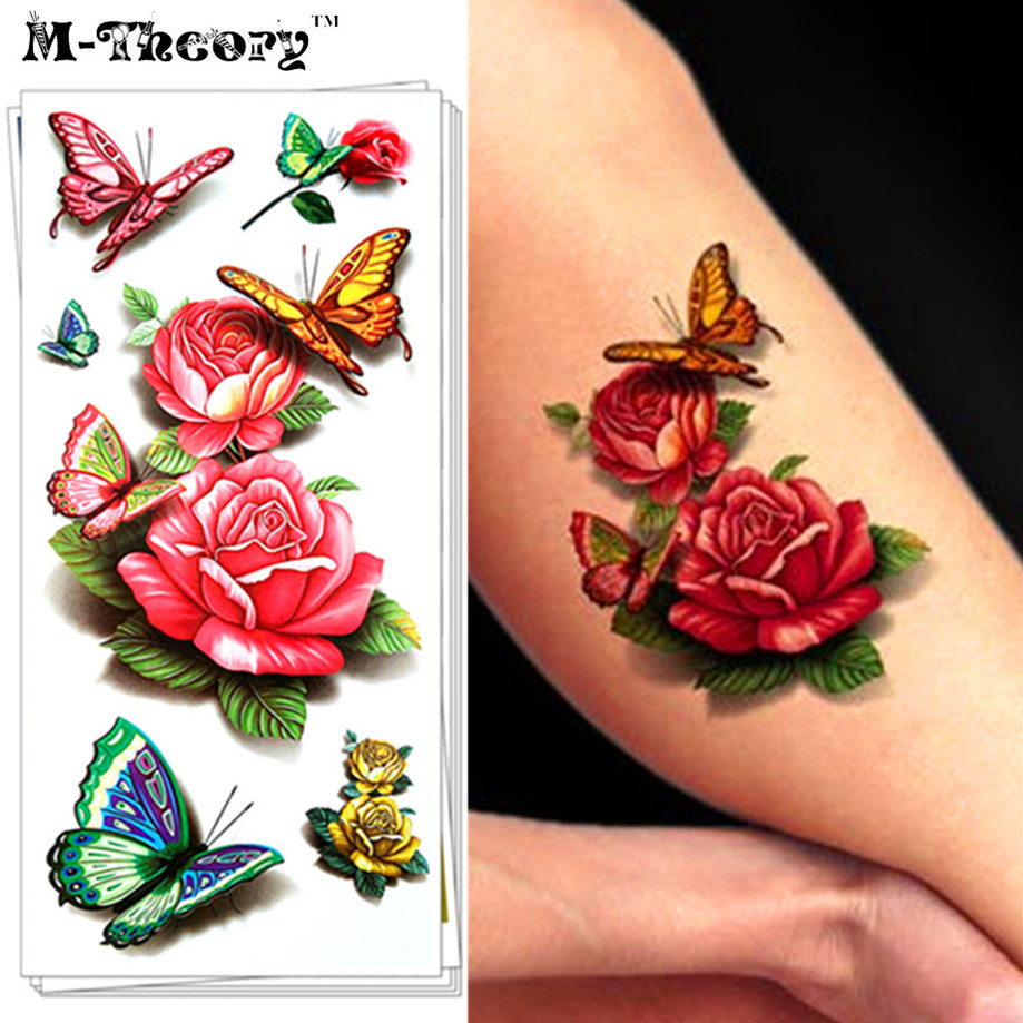 Fashion Tattoo Stickers, 3D Effect, Water Transfer Temporary Body Art Waterproof 3-5 Days, Sexy Butterfly Rose