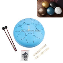 10 Inch Tongue Drum Mini 8-Tone Steel Hand Pan Percussion Instrument with Mallets Carry Bag