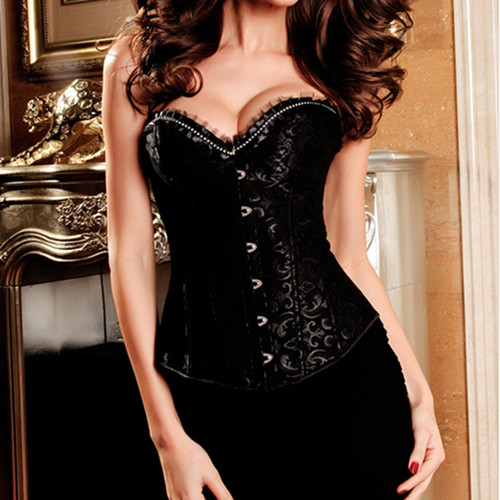 eb3b5abc501 New Rhinestone Embellished Lace Ruffles Women Tight Corset Sexy Plus Size  Off Shoulder Gothic Steampunk Sequined Waist Trainer