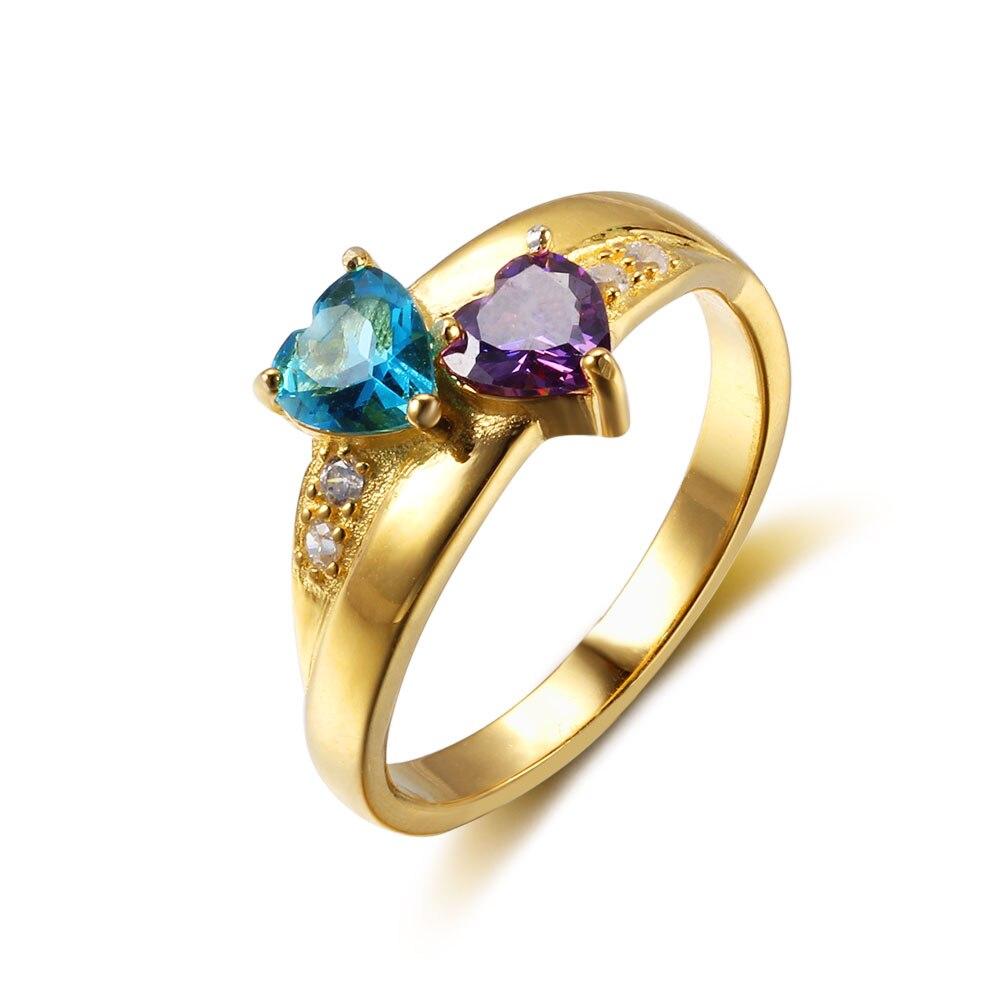 Nom personnalisé anneau 2 coeur pierre de naissance 925 argent Sterling cubique zircone anneau idée cadeau d'anniversaire (bijouora RI102346) - 4