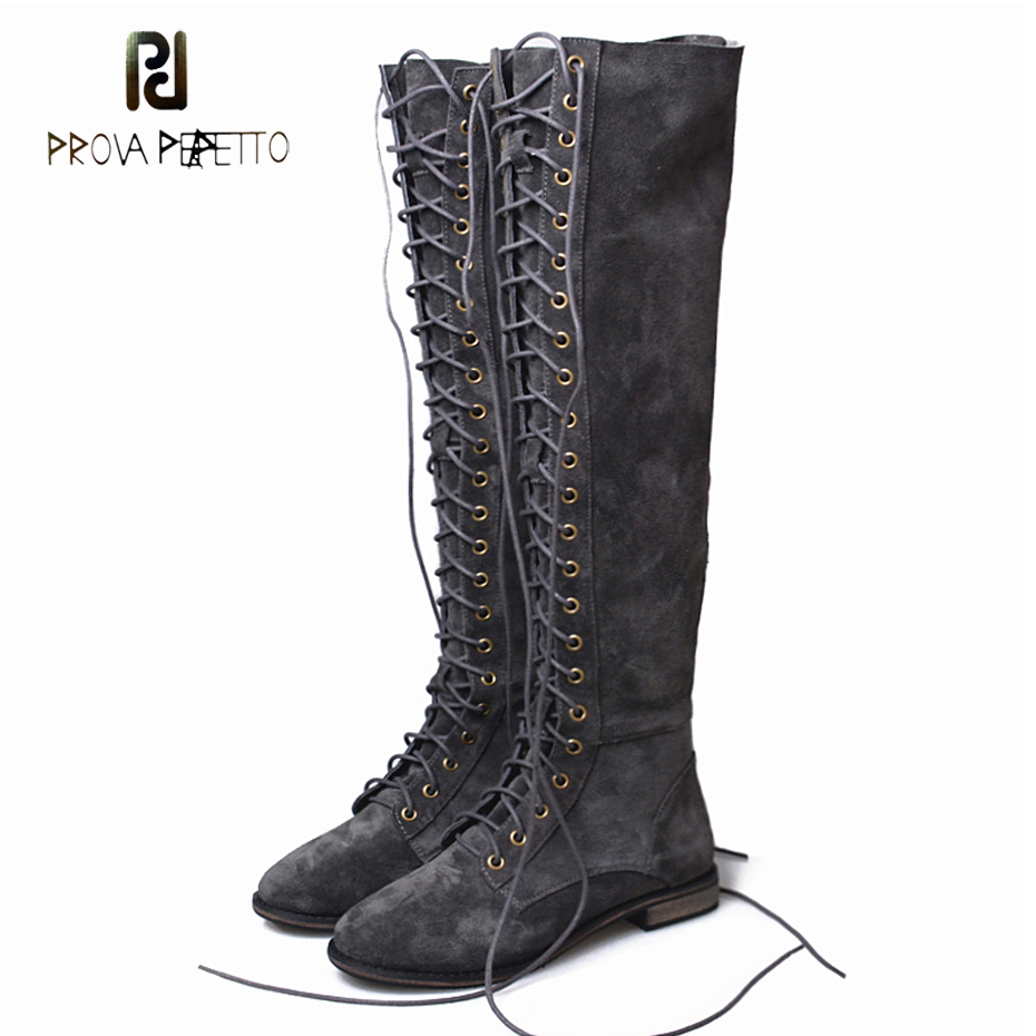 Prova Perfetto grey cow suede thin leg over the knee boot women front cross tied cozy low heel all match knight long boots mujer low heel thin high leg elastic women s boots over the knee socks boot shoes
