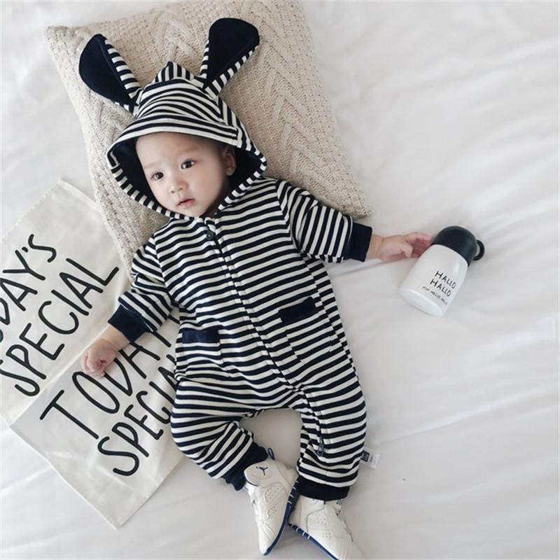 2017 Newborn Warm Baby Rompers Long Ears Cute Baby Girl Clothes Long Sleeve Fashion Baby Boy Climb Clothes Cotton Jumpsuits funny newborn baby kids cotton long sleeve rompers love mummy daddy jumpsuits clothes p1