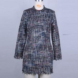 Image 5 - Vintage Turtleneck plaid Tweed dress women winter dress Sexy mini bodycon dress elegant red office work dress 2019 vestidos