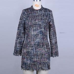 Image 5 - 빈티지 터틀넥 격자 무늬 트위드 드레스 여성 겨울 드레스 섹시한 미니 bodycon 드레스 우아한 레드 사무 작업 드레스 2019 vestidos