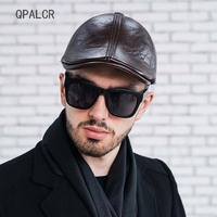 QPALCR Fall Winter Newsboy Cap Men Leather Hat Caps Casual Ear Protection Beret Vintage Flat Cap High Quality Trucker Hats