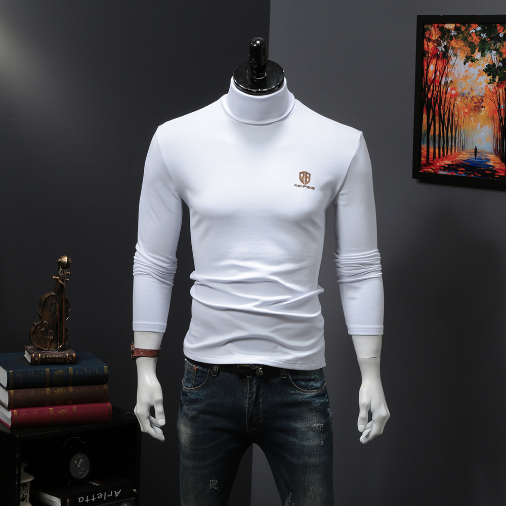 2018 New Autumn Winter MenS Sweater MenS Turtleneck Solid Color Casual Sweater Mens Slim Fit Brand RenFeng logo Pullovers