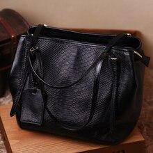 2016 spring and summer snake pattern cowhide leather bag simple shoulder portable handbag large bag