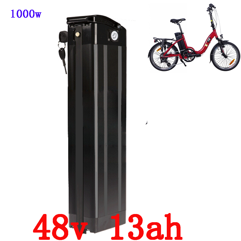 48V 1000W electric bike battery 48V 13AH silver fish Battery 48V 13AH Lithium battery with 30A BMS and 54.6V 2A charger48V 1000W electric bike battery 48V 13AH silver fish Battery 48V 13AH Lithium battery with 30A BMS and 54.6V 2A charger