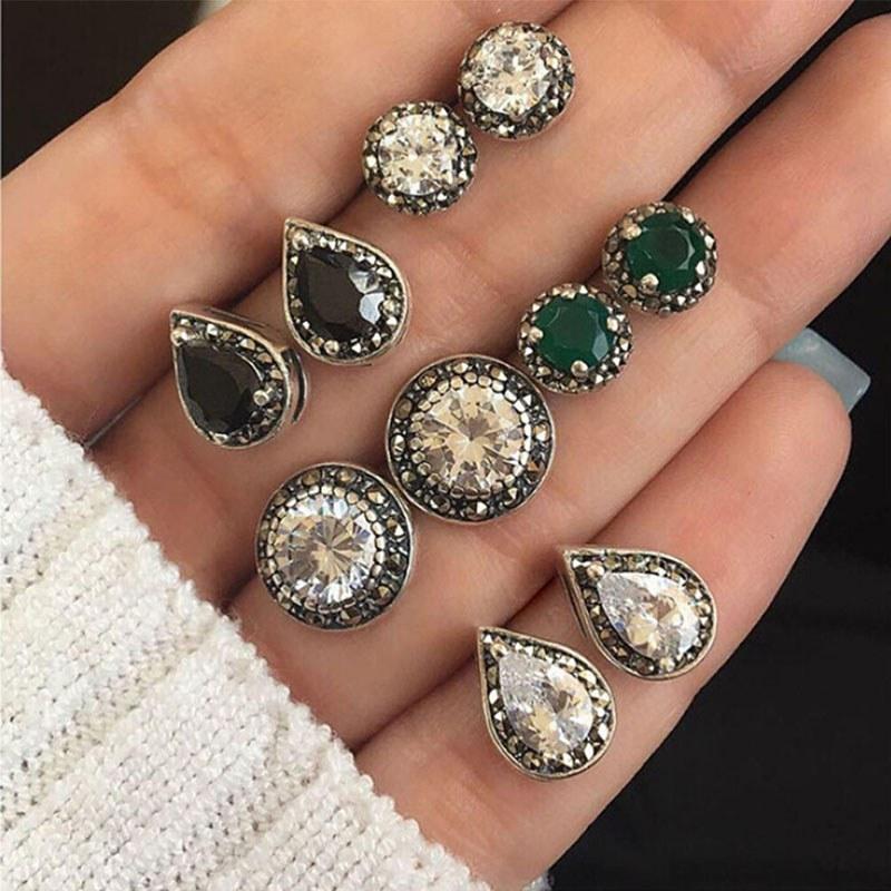 5 Pairs/Set Women Crystal Earrings for Women Boucle D\'oreille Jewelry Bohemian Stud Earring Set Green Droplets Brincos W9