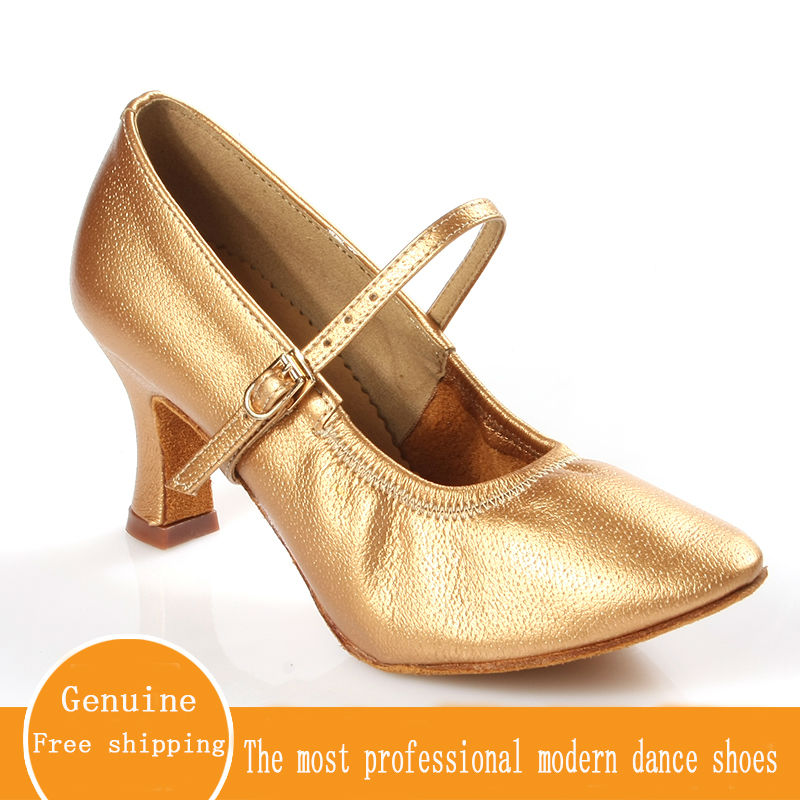 Ballroom Dancing Shoes Genuine Leather Ladies Aerobics Shoes Sports Adult Brown High Quality Modern Women Dancing