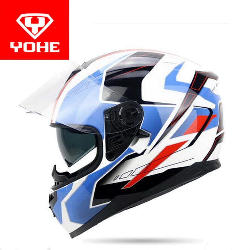 YOHE double lenses Full Face motorcycle helmet YH-967 full cover motorbike helmets made of ABS PC lens visor have 9 kinds colors