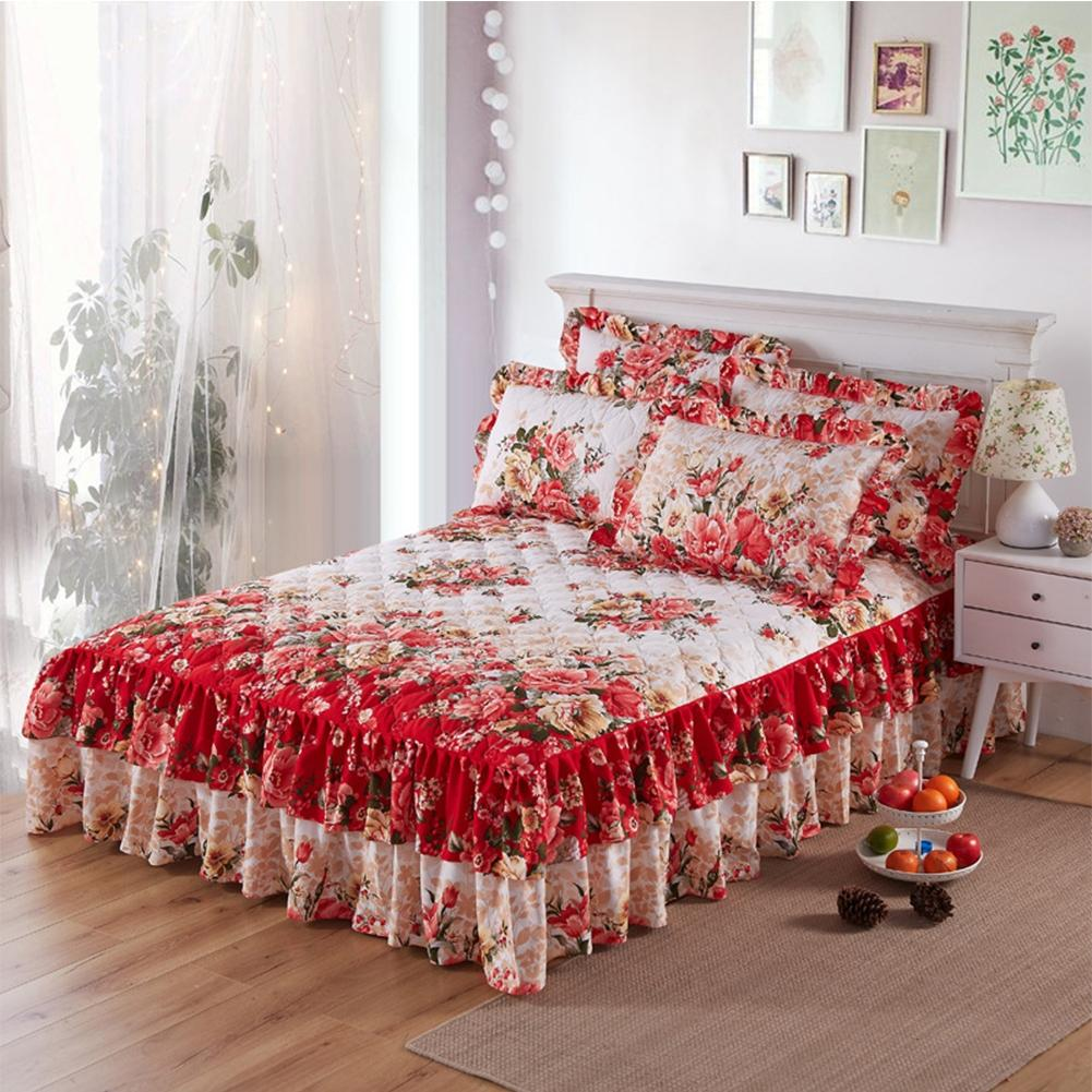 Adeeing Graceful Quilted Thickened Bedspread Laced Fitted Sheet Two-Layer Bed Cover Wedding Housewarming Gift(no Pillowcase)