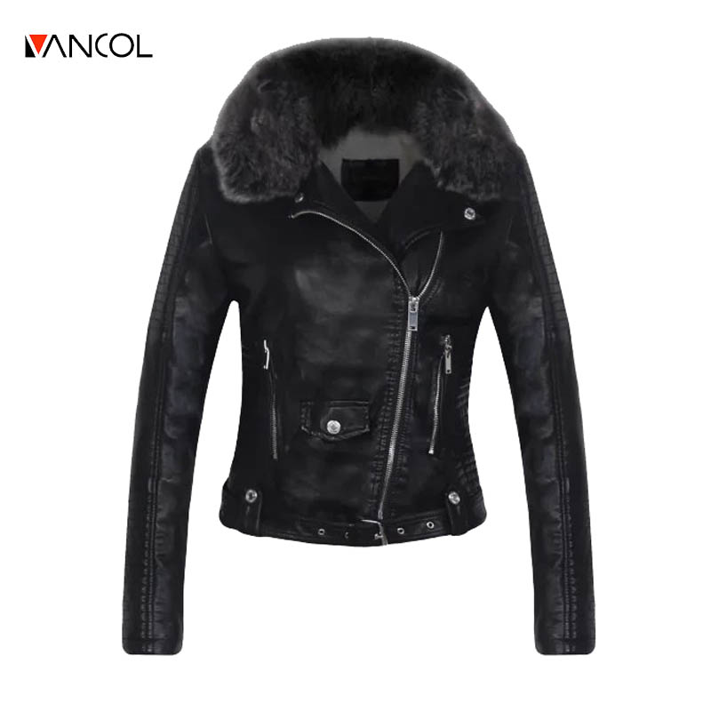 Popular Womens Black Leather Jacket with Fur Collar-Buy Cheap ...