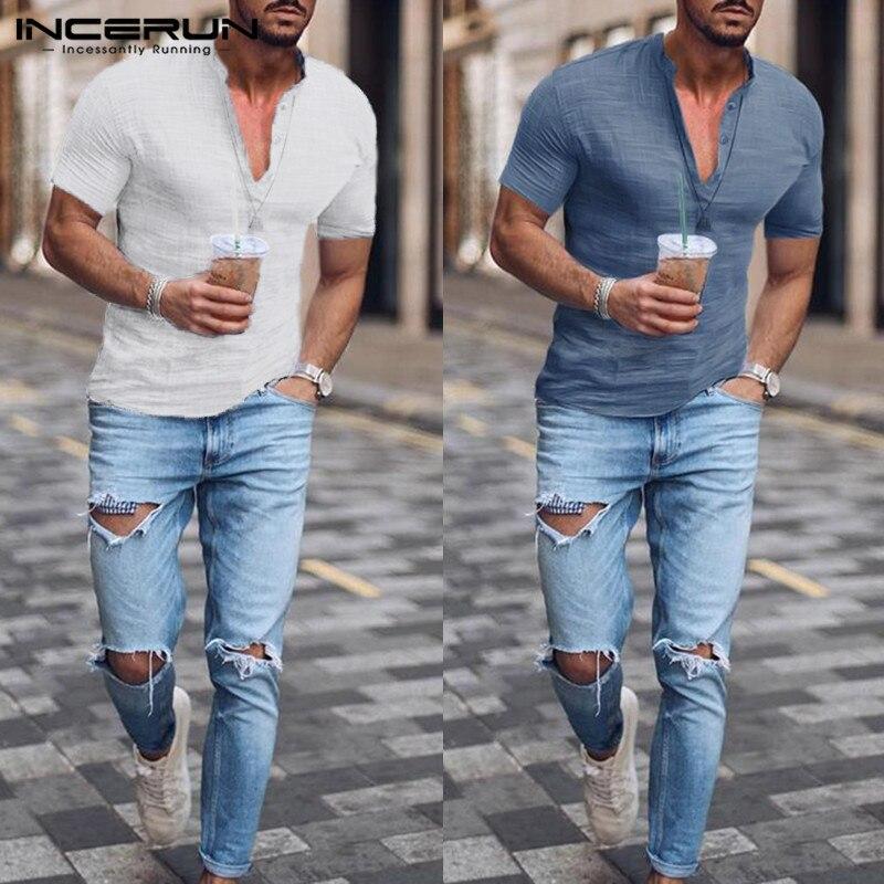 INCERUN Summer Fashion Men Shirt Cotton Henley Collar Streetwear 2020 Short Sleeve Slim Fit Social Business Shirt Men Camisa 5XL