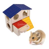 Double Deck Natural Wooden Hamster House Ladder Toy For Hamster Mouse Gerbil