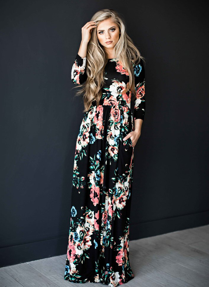 ELSVIOS 2017 Summer Boho Beach Dress Fashion Floral Printed Women Long Dress Three Quarter sleeve Loose Maxi Dress Vestidos 5