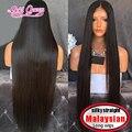 Cabelo malaio cheia do laço perucas 100 cheia do laço perucas de cabelo humano reto de seda do cabelo humano perucas para as mulheres negras 32inch150high densidade