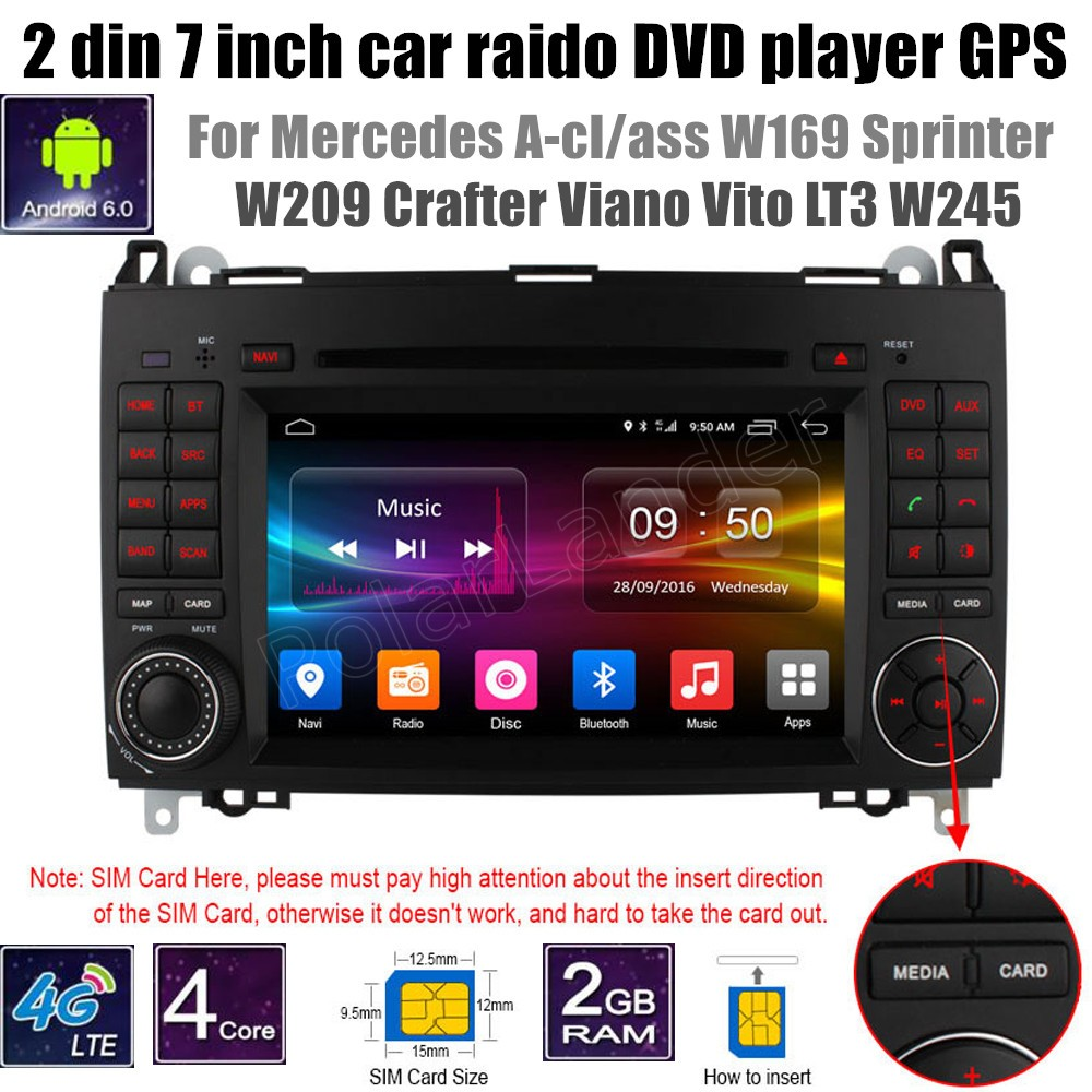 Android 6.0 Auto DVD-Player Fü<font><b>r</b></font> B-ENZ A-cl/ass W169 S/drucker W209 <font><b>Crafter</b></font> Viano Vito LT3 W245 Radio Player Stereo image