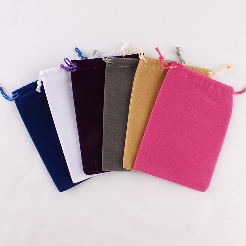 100pcs/lot 10*14cm Customized Logo Printed Velvet Drawstring Pouch Packing Bags Factory Price