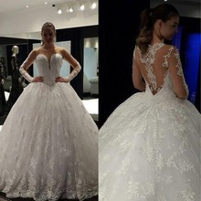 srui sker Ball Gown Wedding Dress Long Sleeves Bridal Gown
