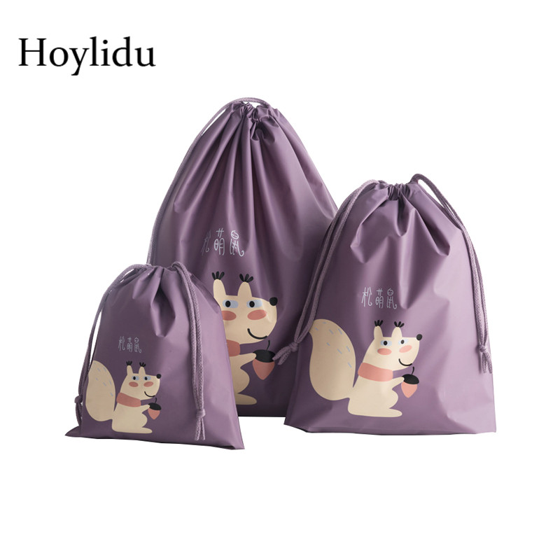 3 Pcs/Set Waterproof Drawstring Storage Bag Women Travel Accessories Packing Organizer Clothe String Bags Shoe Pouch Kit Package