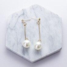 Hot sell south Korean jewelry pearl earrings simple joker temperament long wholesale