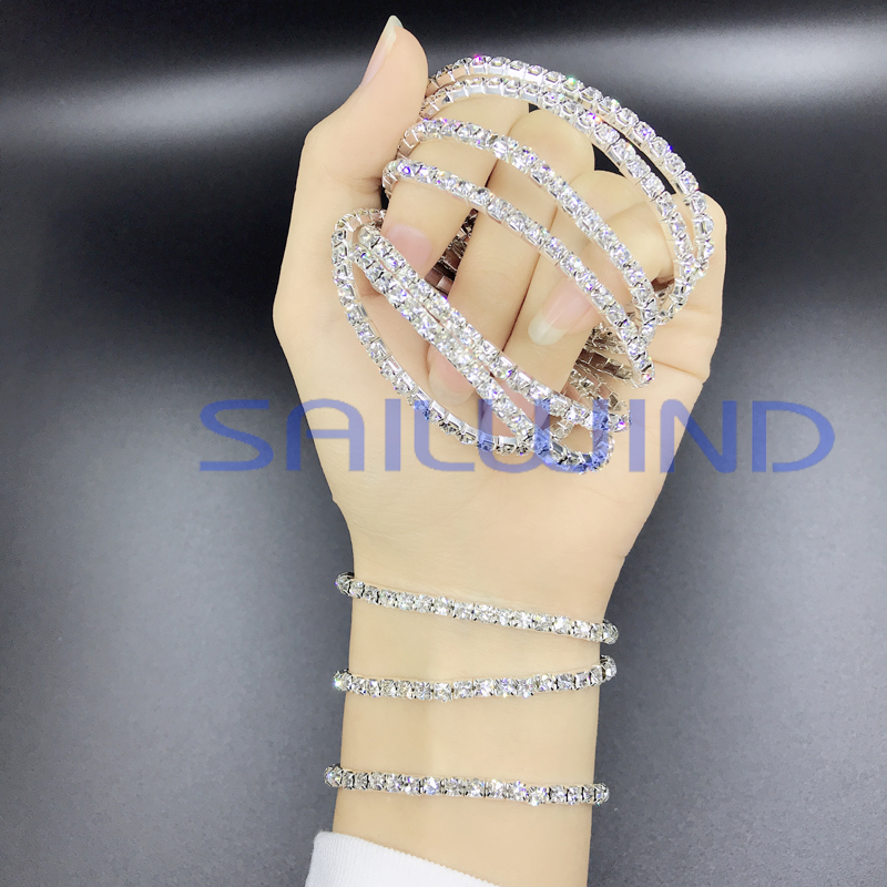 1Pcs Flexible Silver Plated Bracelets Bangles 15cm Crystal Bracelets Jewelry for women ladies gift Bracelets Charming Chain