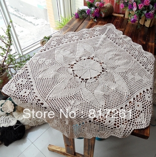Free Shipping 2013 Beige 75cm Square Lace Table Cloth Fabric Runner For  Wedding Crocheted Tablecloth Lace