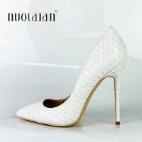 2019 Brand Fashion Women Shoes White Snake Printed Sexy Stilettos High Heels 12cm/10cm/8cm Pointed Toe Women Pumps