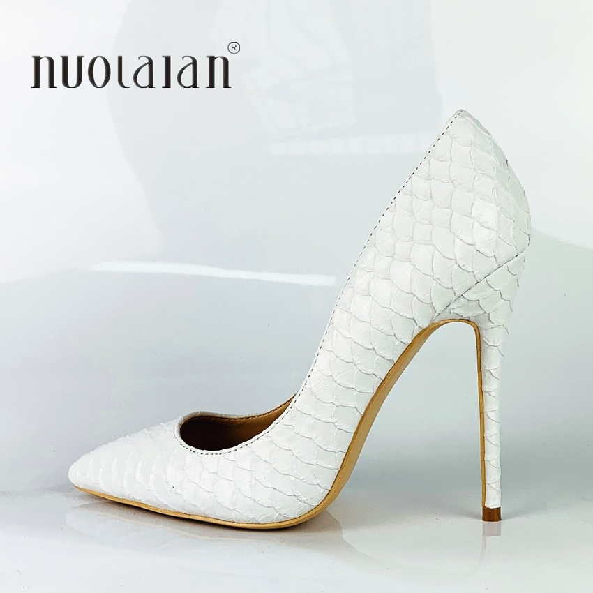 2019 Brand Fashion Women Shoes White Snake Printed <font><b>Sexy</b></font> Stilettos <font><b>High</b></font> <font><b>Heels</b></font> <font><b>12cm</b></font>/10cm/8cm Pointed Toe Women Pumps image