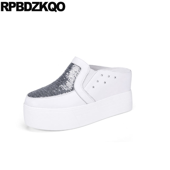 platform white elevator sequin korean wedge muffin mules women glitter designer shoes china creepers slippers breathable