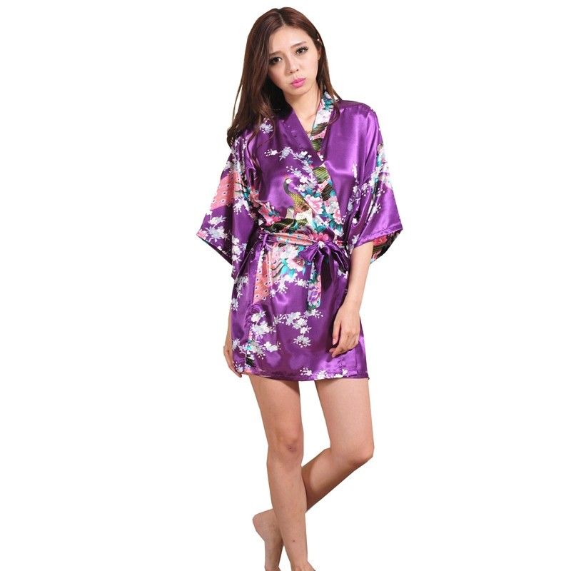 Silk Satin Robe Floral Night Gown For Women 4