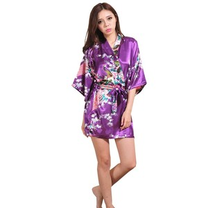 Image 5 - Silk Satin Wedding Bride Bridesmaid Robe Floral Bathrobe Short Kimono Robe Night Robe Bath Robe Fashion Dressing Gown For Women