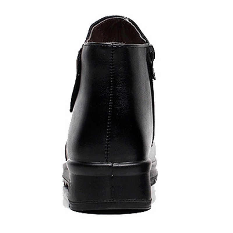 Timetang Da Thật Chính Hãng Da Nữ Cổ Chân Giày Đen 3 Giày Botas Mắt Cá Chân Giày Cho Nữ Khóa Kéo Nêm Mùa Đông Mẹ Giày
