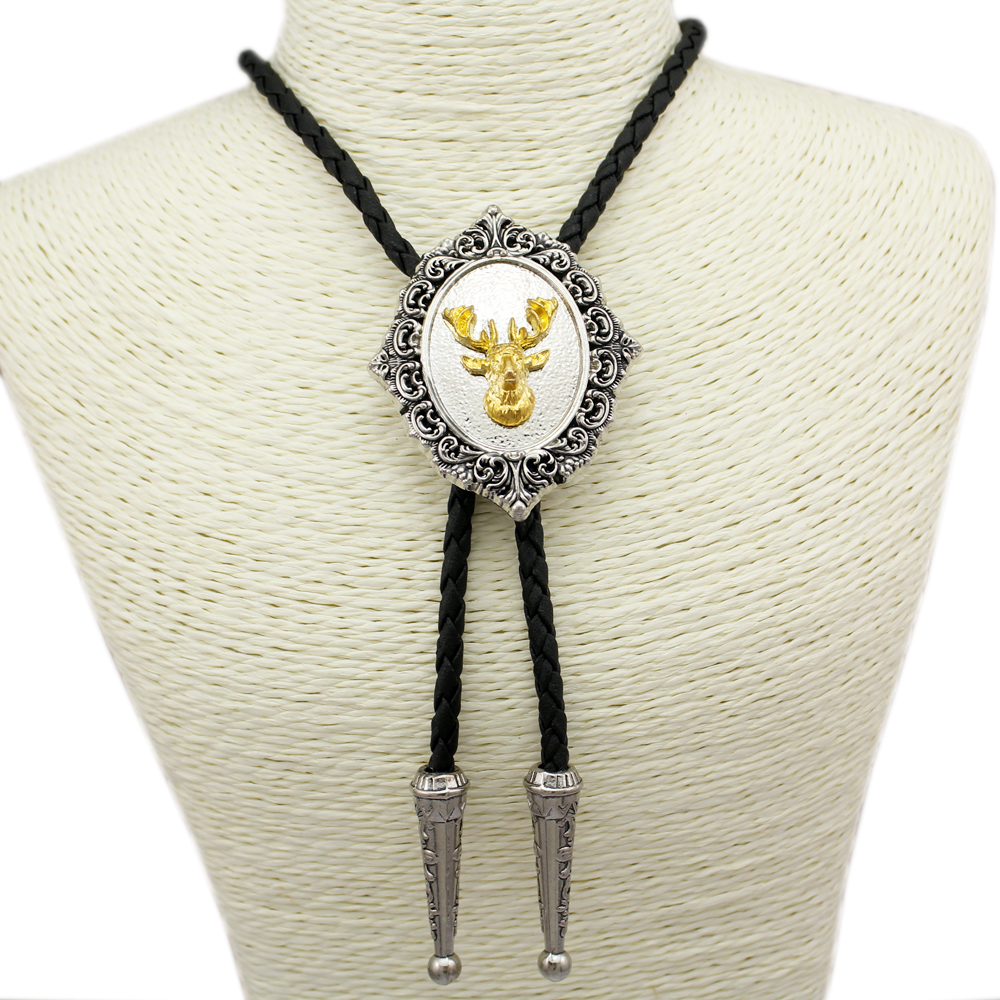 Fab Southwest Silver  Gold Whitetail Deer Head Stag Elk Buck Hunt Leather Bolo Tie Men Gift Necklace Necktie Jewelry