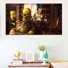 TV Cartoon Breaking Bad Marge Homer Bart Art Canvas Poster Painting Oil Wall Picture HD Print Home Bedroom Decoration Framework