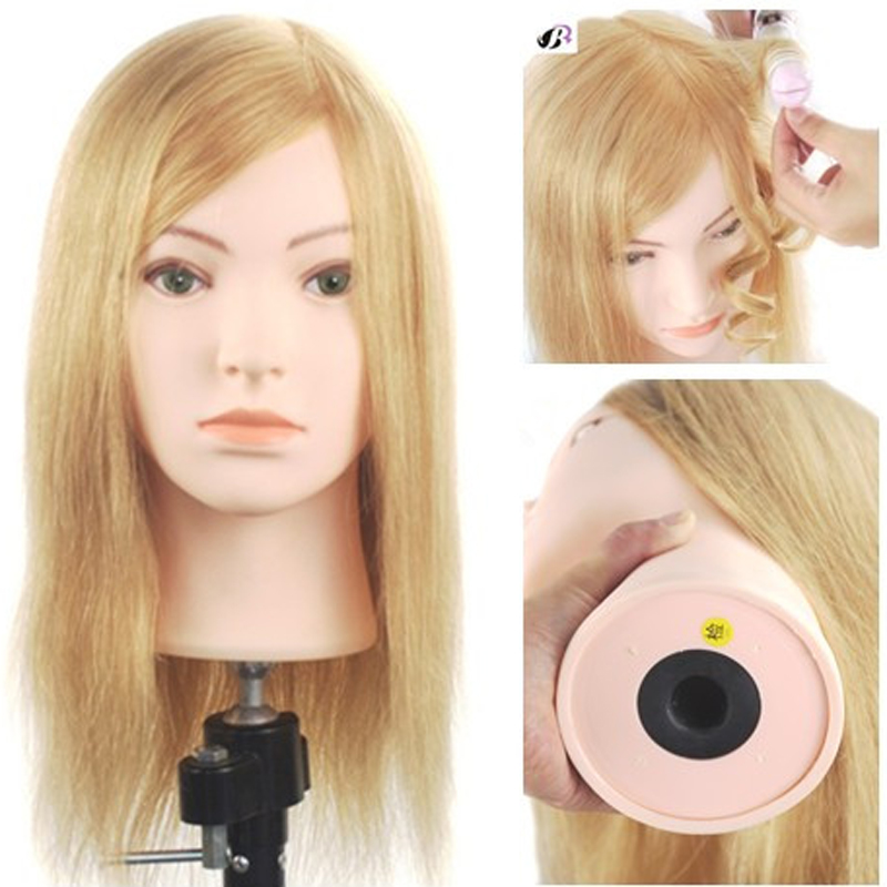 16inch 100 Human Hair Blonde Mannequin Salon Training Female Manikin Model Hairstyles Cosmetology Hairdressing Head Tool On Sale hot sale 8 male mannequin head 100% virgin human hair hairdressing training head hairstyles manikin head dolls with free clamp