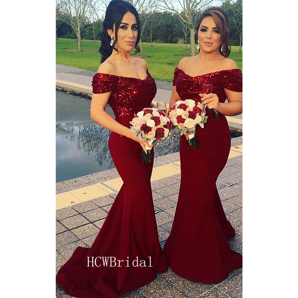 Burgundy Mermaid   Bridesmaid     Dresses   Boat Neck Off The Shoulder Sequins Elastic Satin Long Wedding Party   Dress   Cheap 2019