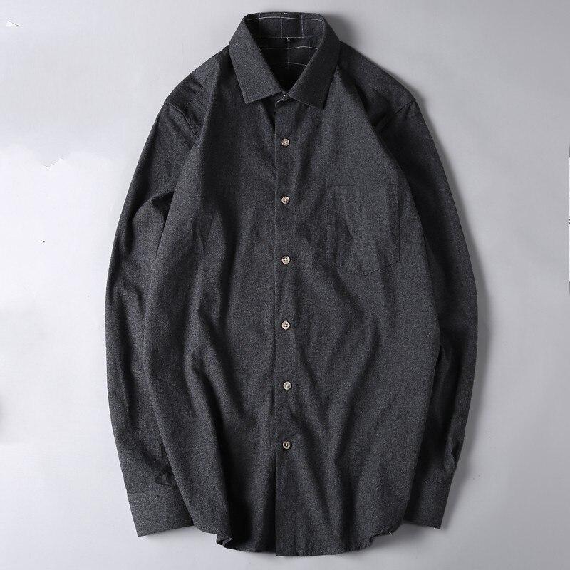 Bleu printemps grande taille 6xl 7xl hommes 100% coton chemises militaires hommes à manches longues simple boutonnage solide laine chemise col rabattu