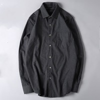blue Spring plus size 6xl 7xl men 100% cotton shirts military men long sleeve Single Breasted solid wool shirt turn down collar