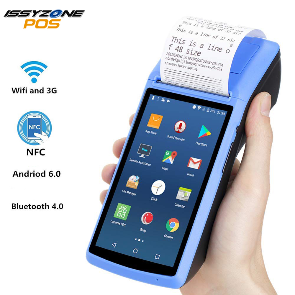 Impressora de Recibos IssyzonePOS 58mm Touch Screen PDA Android 6.0 Handheld POS terminal PDA WIFI Bluetooth 3G Suporte PDA OTG