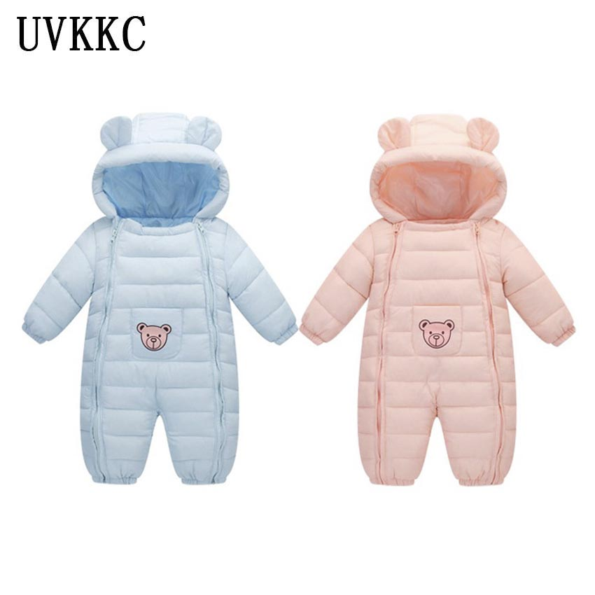 UVKKC Baby girl rompers newborn winter baby boy rompers cartoon bear jumpsuit long sleeve cotton kids children clothes set 2pcs children outfit clothes kids baby girl off shoulder cotton ruffled sleeve tops striped t shirt blue denim jeans sunsuit set