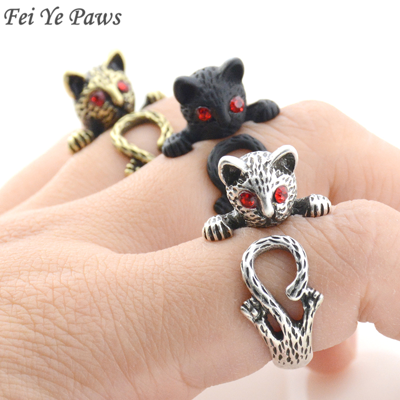 Fei Ye Paws 3 olors Boho Red Eye Cat Metal Wrap Ring Men Retro Ethnic Style